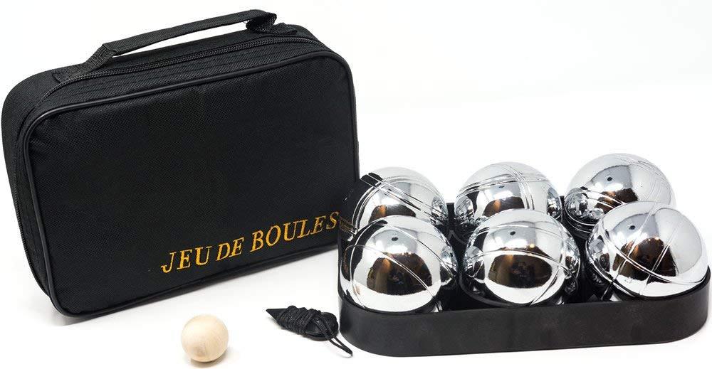 Pétanque bowling set. 6 boules in zip bag