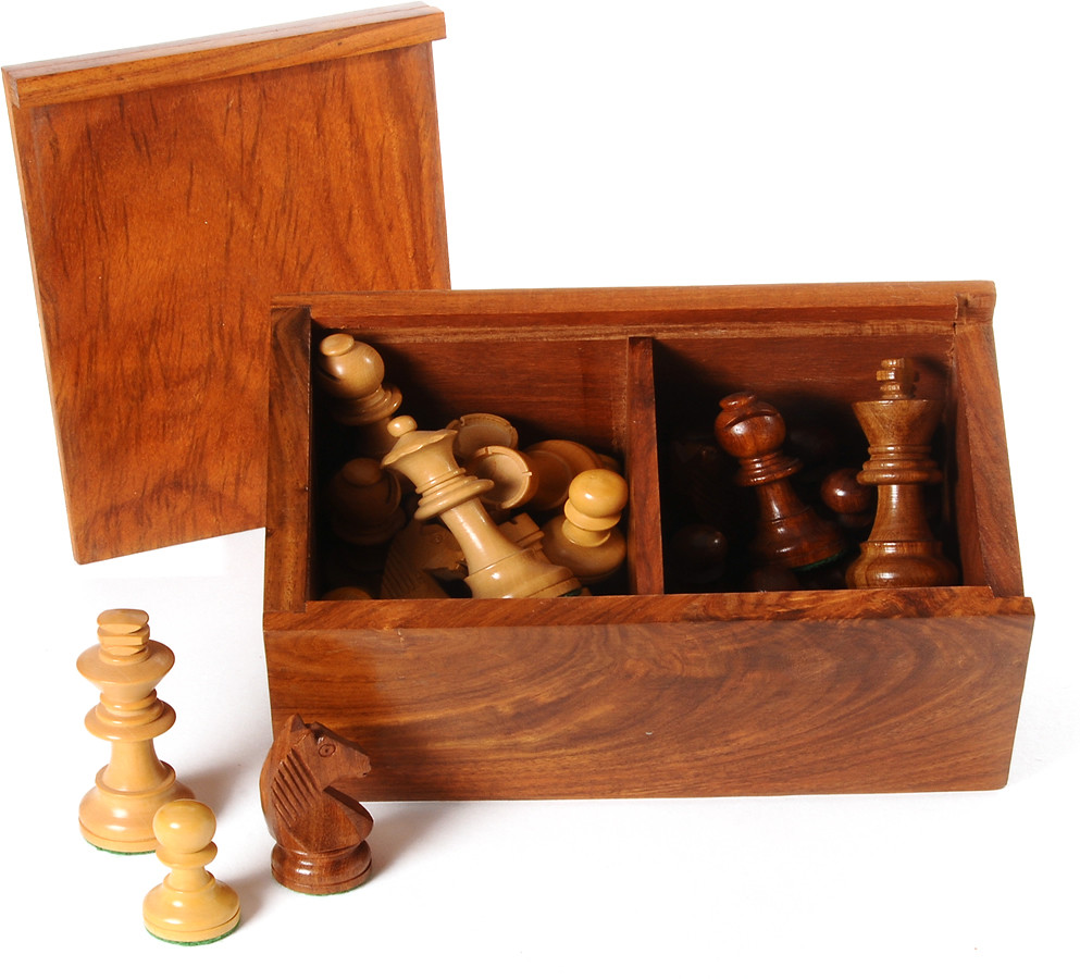 Deluxe Polished boxwood chess pieces, 76mm chessmen