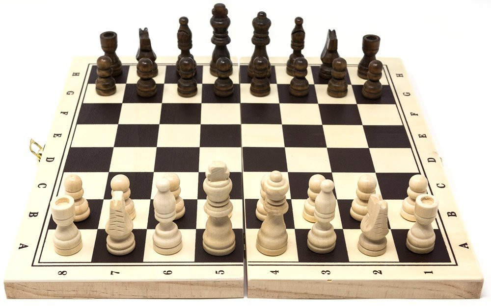 Wooden folding Chess / Backgammon set