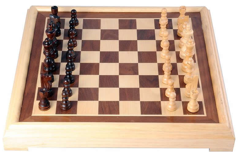 Luxury Inlaid wooden Chess set. 40cm, 77mm king height