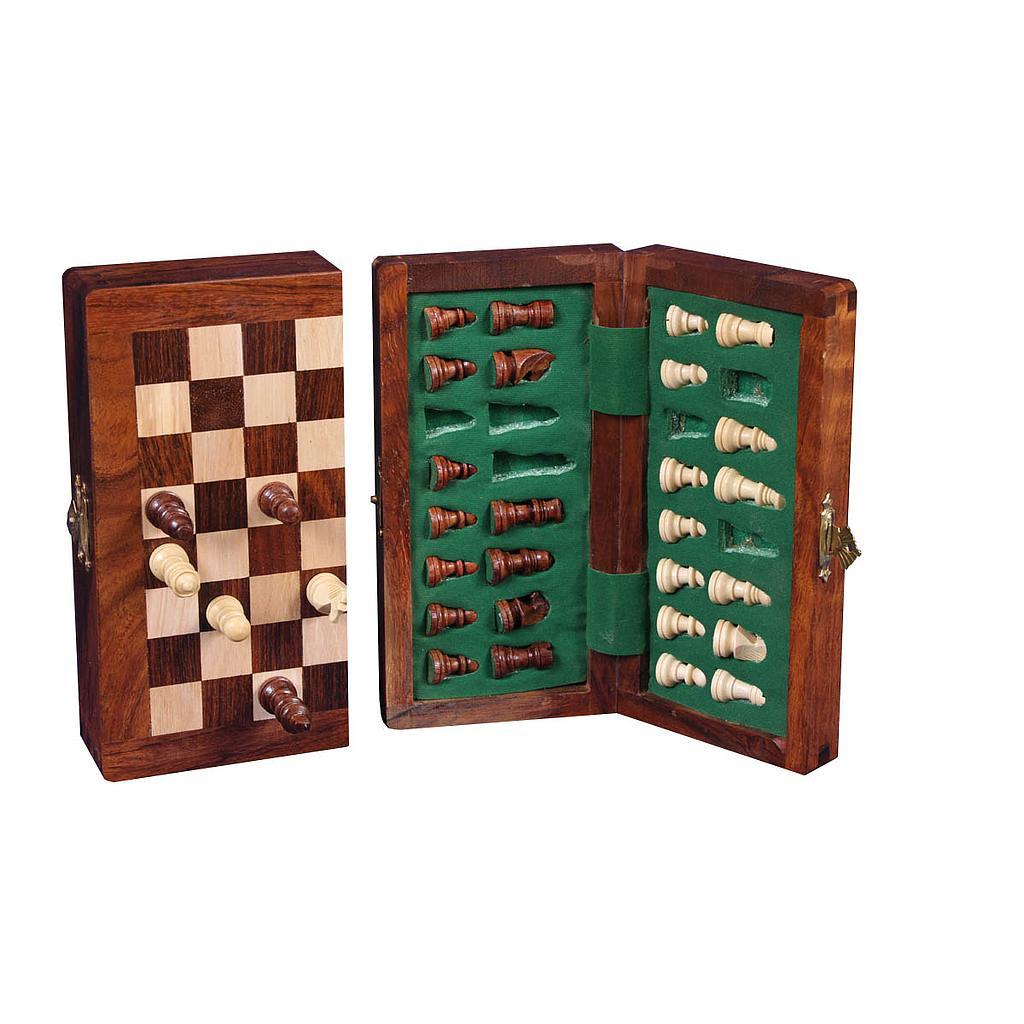 Deluxe Sheesham Wooden Magnetic folding travel chess set