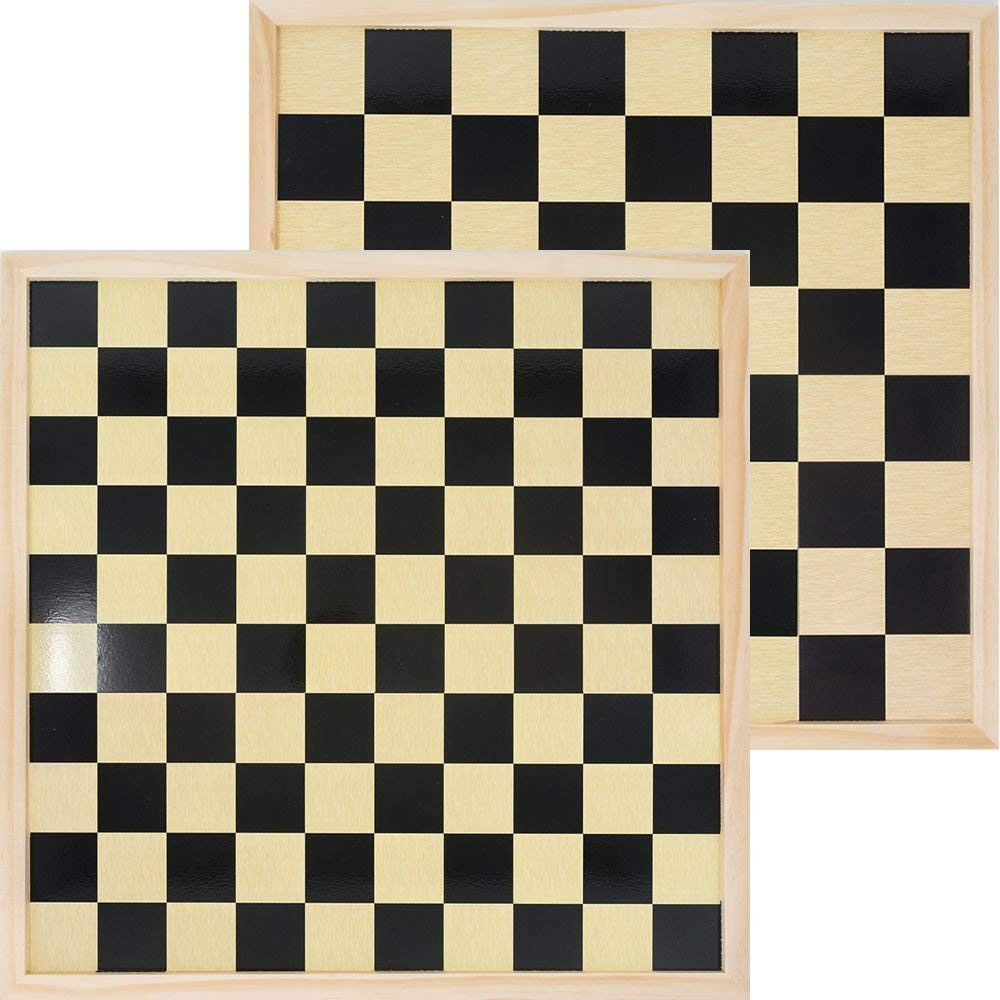 Wooden double sided Chess / International Draughts board 40 x 40 cm