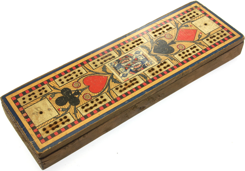Paper covered Victorian cribbage board