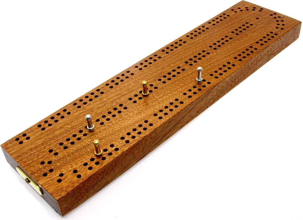 "Continuous 2 track hardwood British cribbage board - 30cm (12"")"