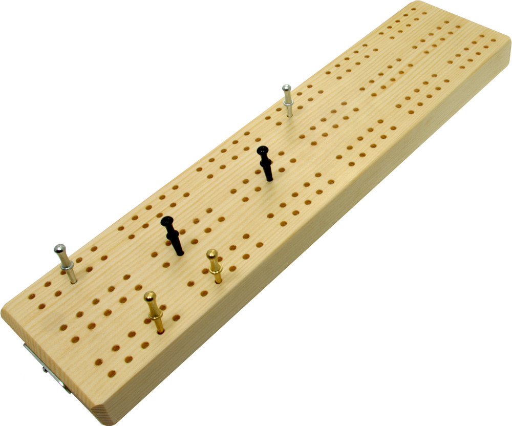 "3 track wooden British cribbage board - 30cm (12"")"