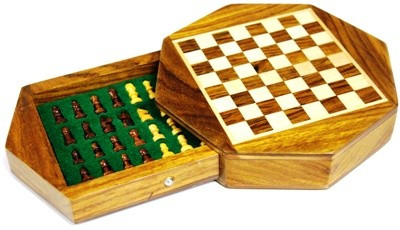 Wooden, Octagonal, Magnetic, Travel Chess Set