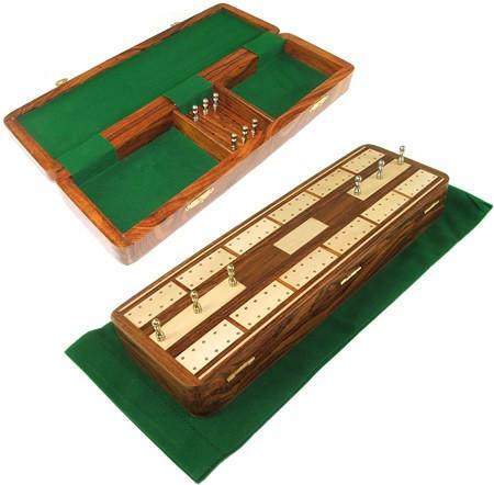 Inlaid Rosewood Cribbage Box