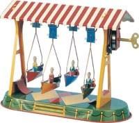 Large Swing boats. Tin Toy / retro / clockwork fairground toy