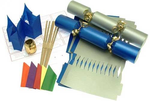 Deluxe Christmas Cracker Kit 35cm - Silver & Blue - 10 Pack