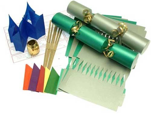 Deluxe Christmas Cracker Kit 35cm - Silver & Green - 10 Pack