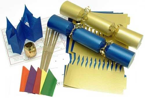 Deluxe Christmas Cracker Kit 35cm - Gold & Blue - 10 Pack