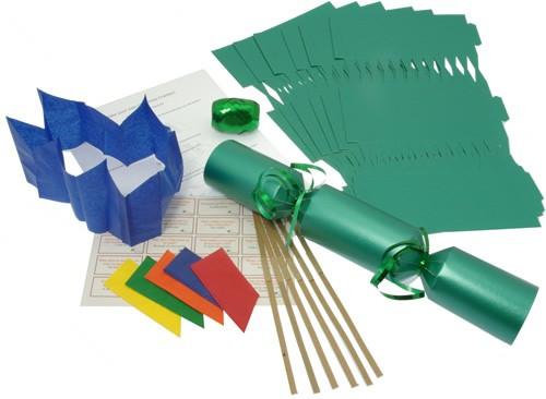 Deluxe Christmas Cracker Kit  35cm - Green - 10 Pack