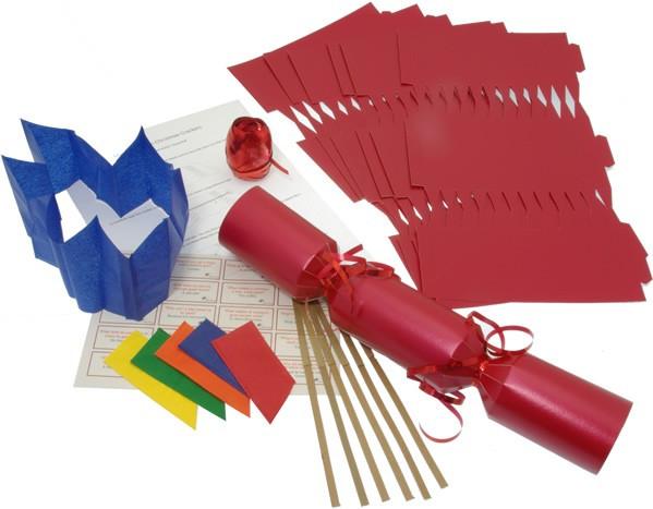 Deluxe Christmas Cracker Kit 35cm - Red - 10 Pack