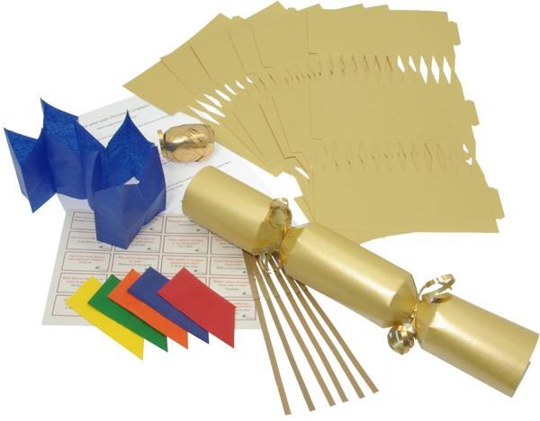 Deluxe Christmas Cracker Kit  35cm - Gold - 10 Pack
