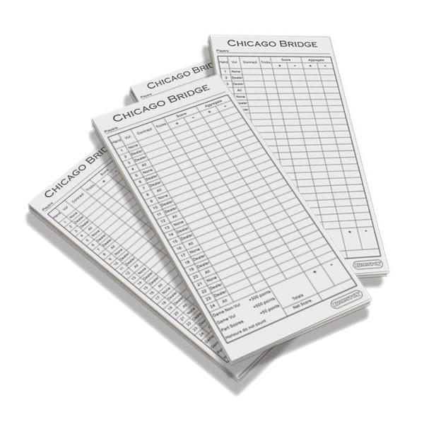Bridge score card pads - club pack