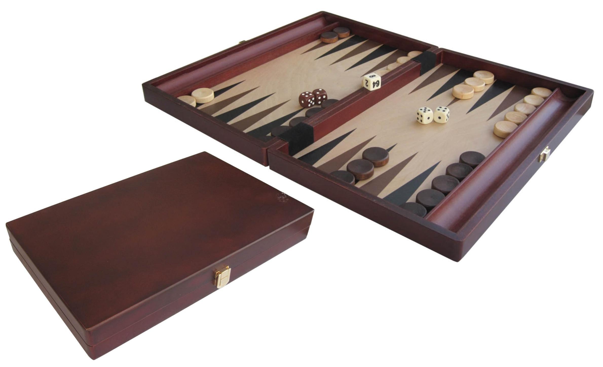 Mohogany coated folding backgammon set
