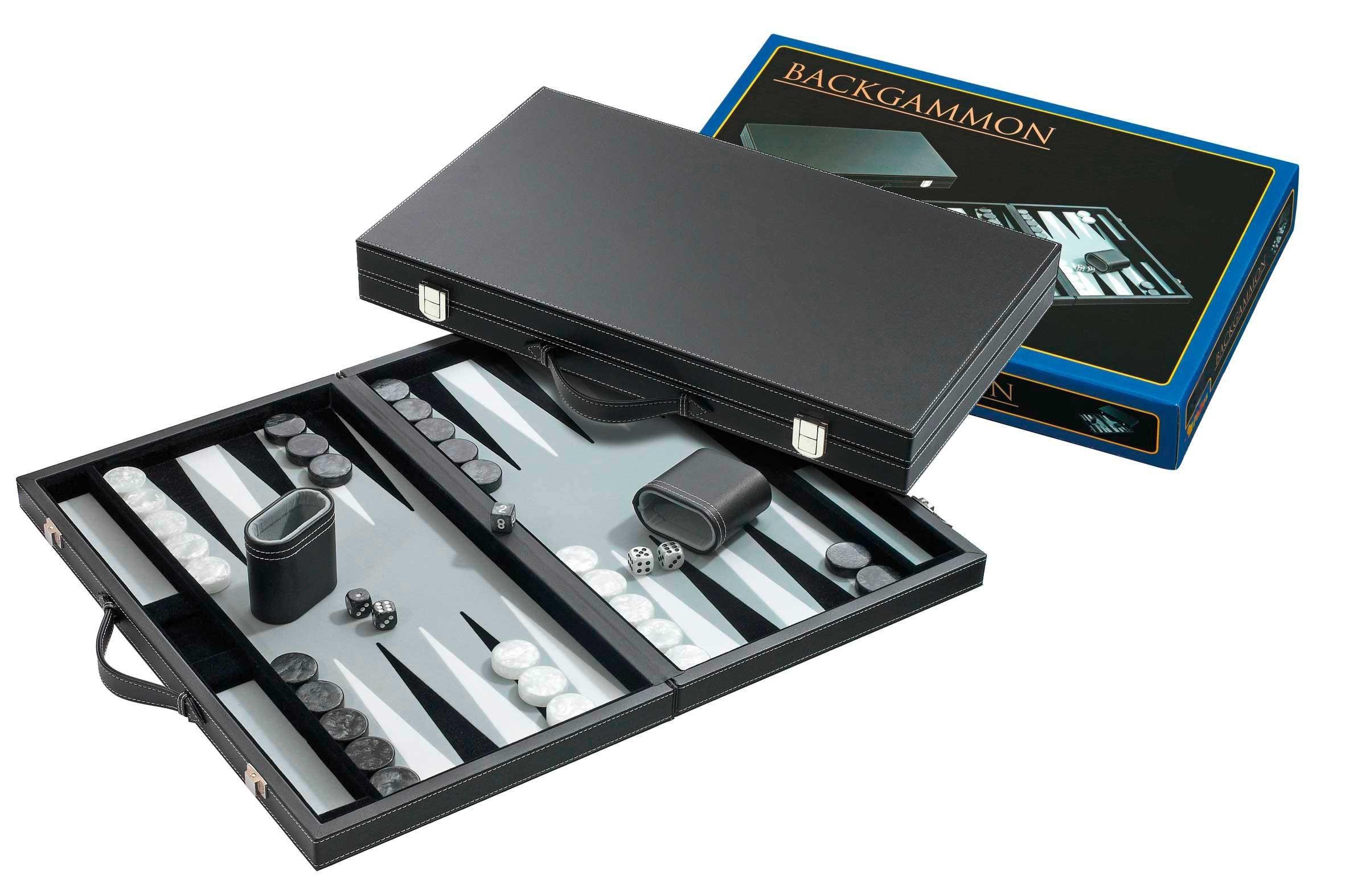 "Deluxe black vinyl 15"" Backgammon"