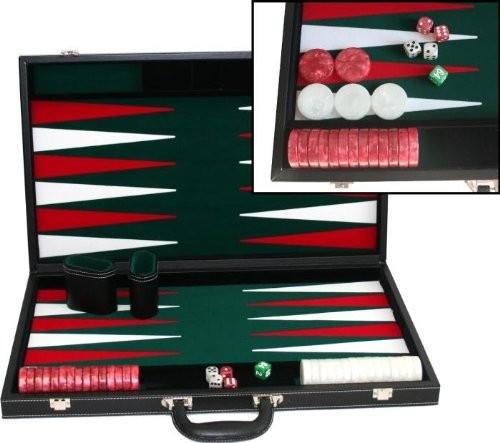 "Deluxe Large 21"" black Vinyl Backgammon case"