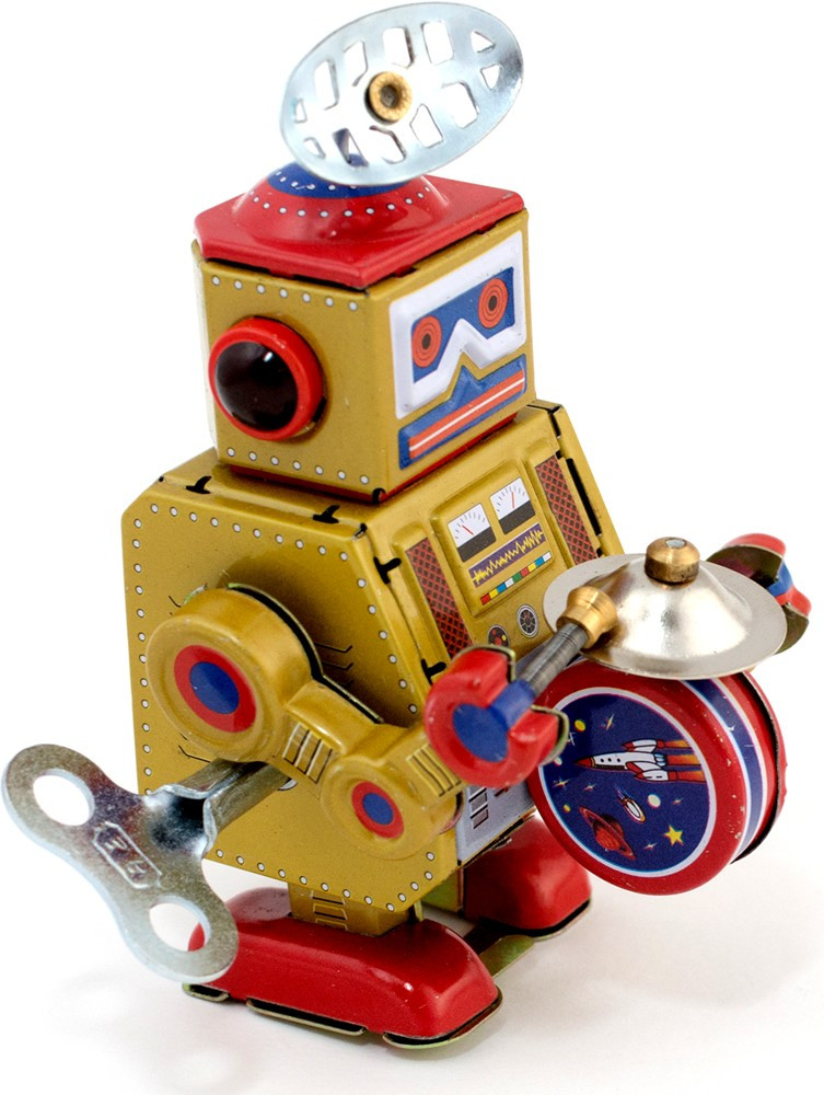Gold big band robot tin toy