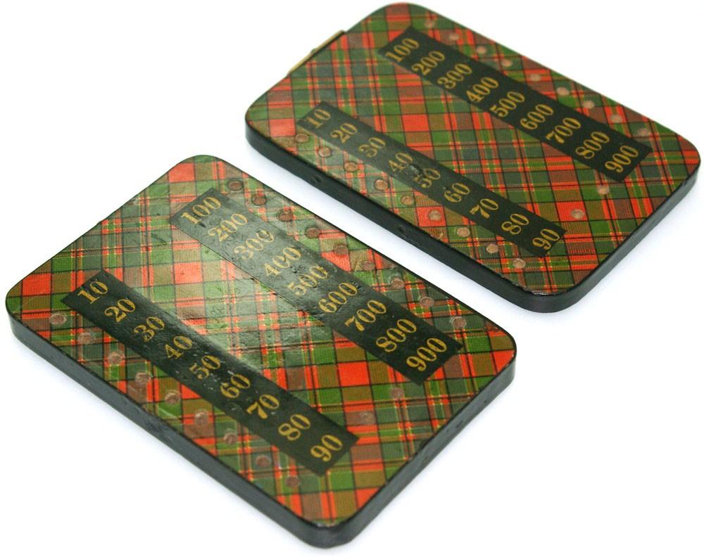 Mauchline tartan ware Bezique markers
