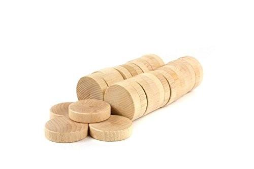 Varnished beech wood shuffleboard disks