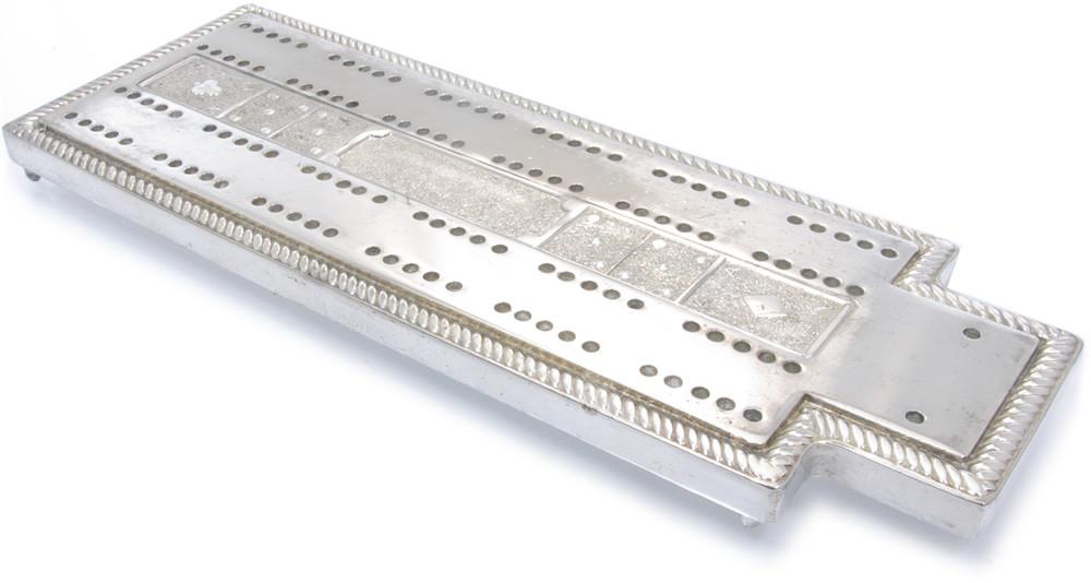 Silver cribbage board