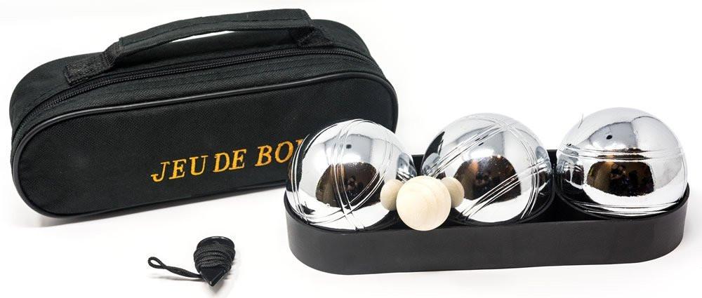 Pétanque bowling set. 3 boules in zip bag.