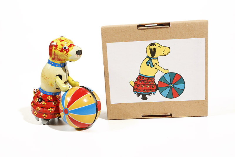 Circus dog with Ball clockwork tin toy