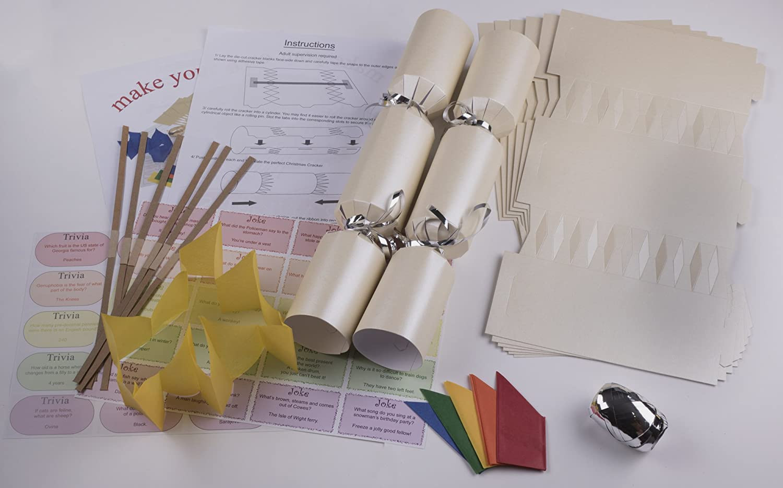 Deluxe Christmas Cracker Kit 35cm - Cream - 6 Pack