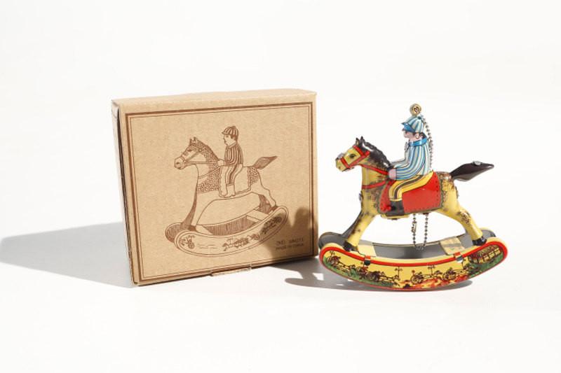 Decorative hanging rocking horse tin toy