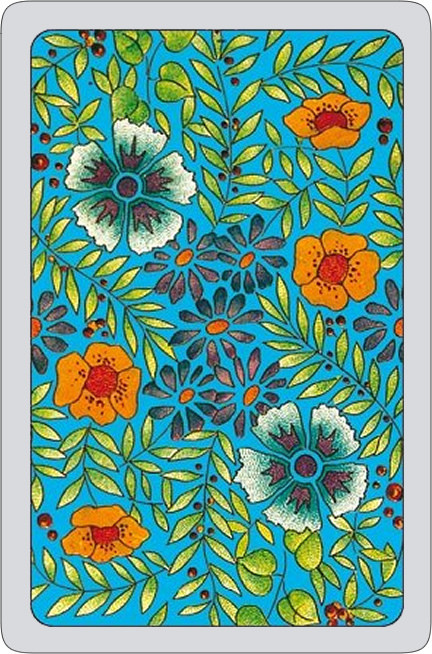 Summer flowers playing cards - blue