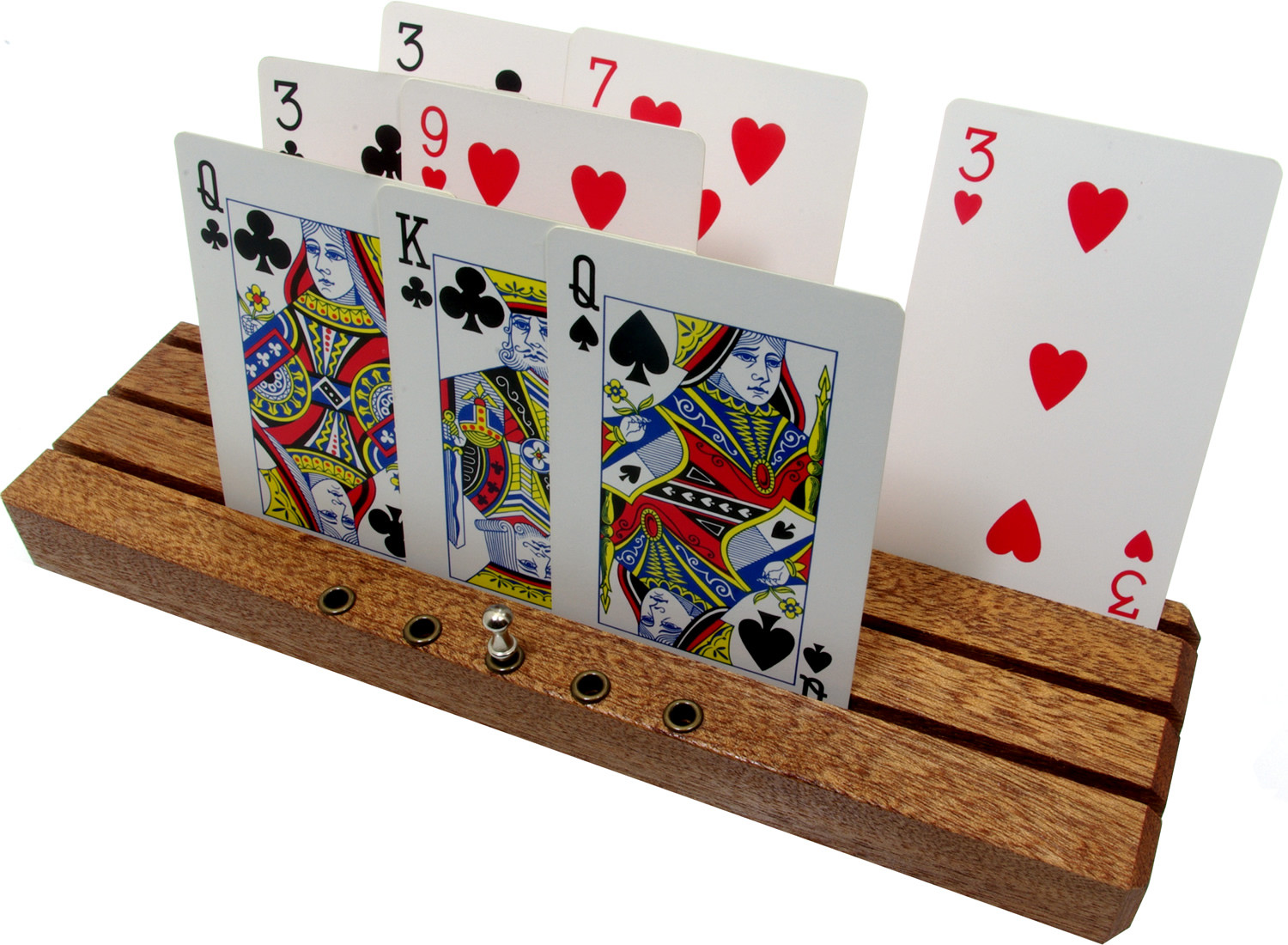 Deluxe playing card racks / holders with scoring pegs
