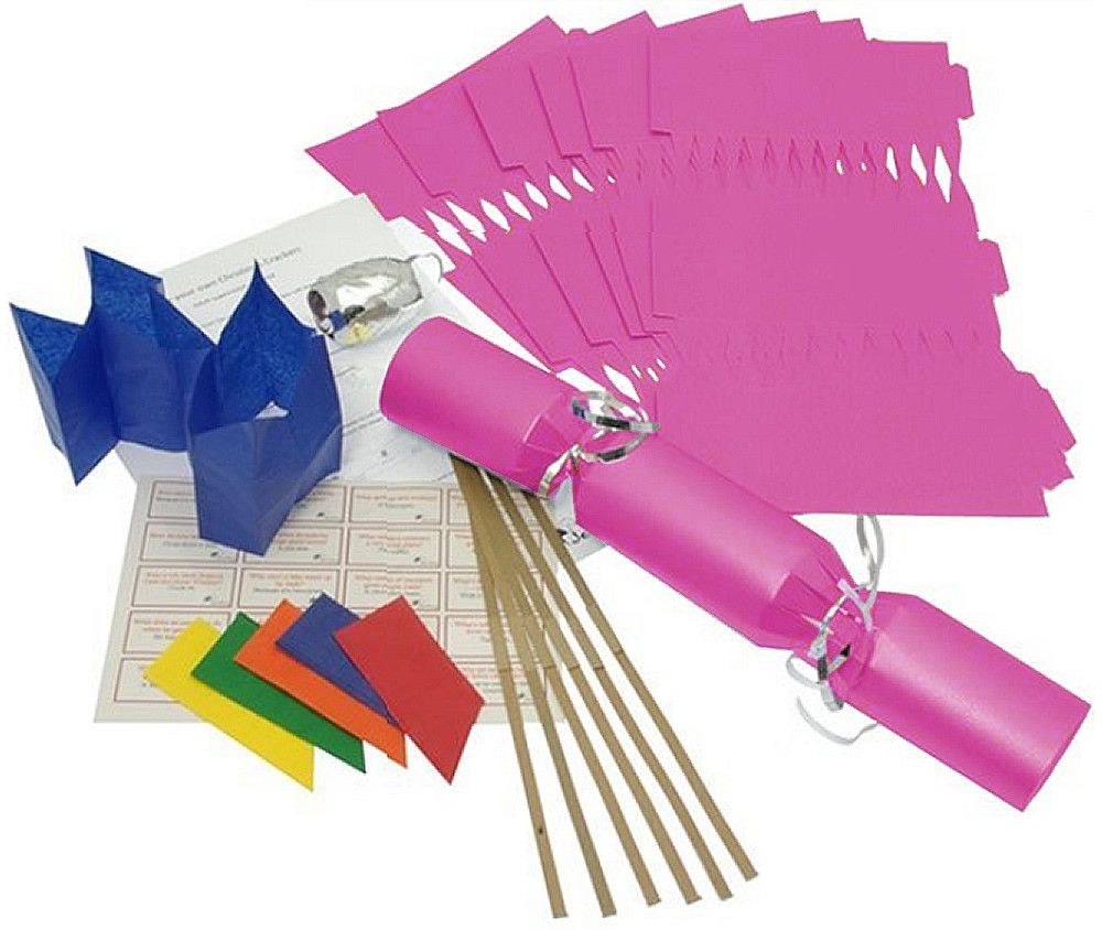 Deluxe Christmas Cracker Kit  35cm - Fuchsia - 10 Pack