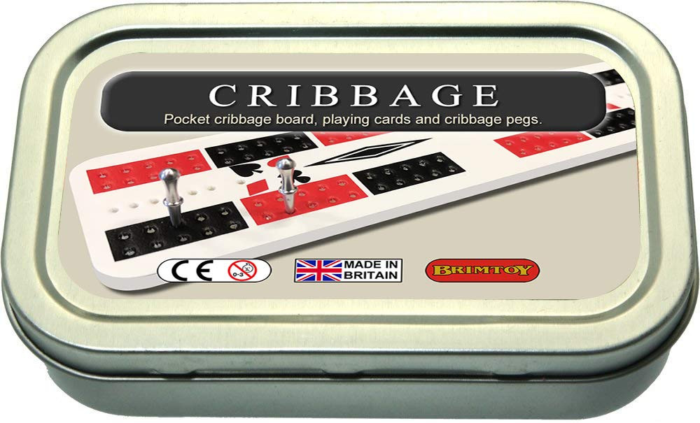 Travel / pocket cribbage board in tin with playing cards and pegs