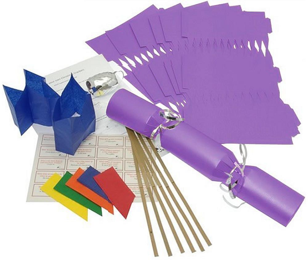 Deluxe Christmas Cracker Kit 35cm - Purple - 6 Pack