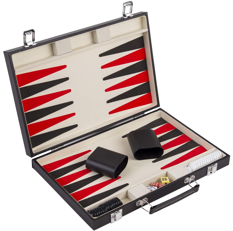 "15"" Black, Red  and White Backgammon Set"