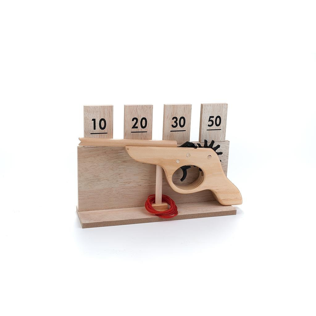 Wooden rubber band gun target game
