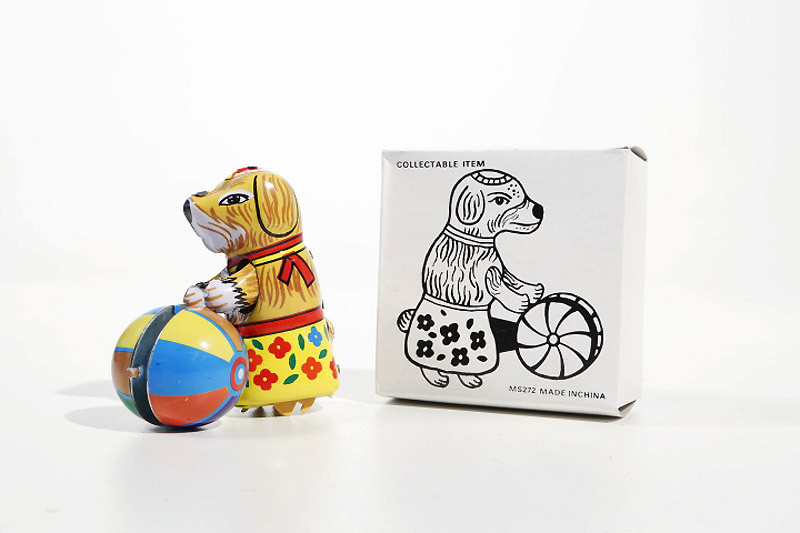 Small dog with Ball clockwork tin toy