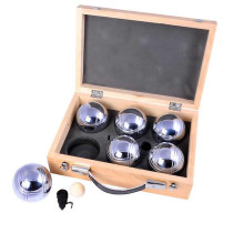 6 Pétanque / Boules bowling balls in wooden case