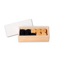 35mm hardwood Draughts pieces (2x20) in wooden box