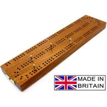 "Continuous 2 track hardwood British cribbage board - 30cm (12"")"
