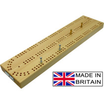 """Continuous 2 track wooden British cribbage board - 30cm (12"""")"""