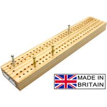 """Wooden British cribbage board - 24cm (9"""")"""