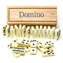 Double 6 dominoes in wooden box