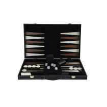 "Deluxe 18"" imitation leather black felt backgammon folding case"