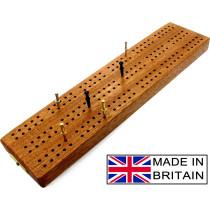 "3 track hardwood British cribbage board - 30cm (12"")"
