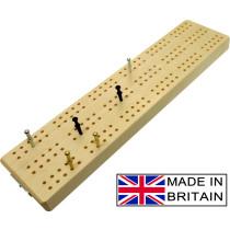 "3 track wooden British cribbage board - 30cm (12"")"