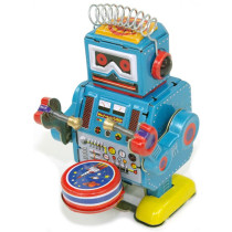 Small Drumming Robot with spikey hair