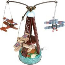 Biplane carousel. Tin Toy / retro / clockwork fairground toy