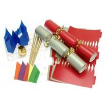 Deluxe Christmas Cracker Kit  35cm - Red & Silver - 10 Pack